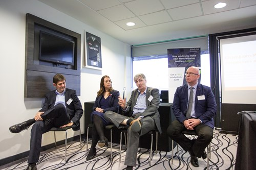 Andrew Peters, Siemens; Leanne Holmes, Crane Payment Innovations; Tim Monaghan, Diodes Inc; Tony Bannan, Precision Technologies Group