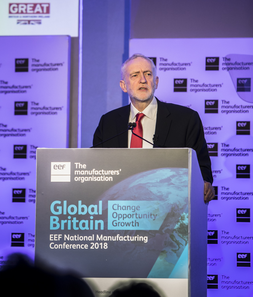 Jeremy Corbyn, Labour Party Leader speaking at the EEF National Conference 2018